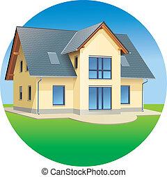 vrai, maison, -, propriétés, résidentiel