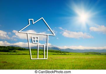vrai, maison, symbole, concept, propriété