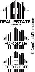 vrai, maisons, barcode, propriété