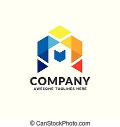 vrai, maisons, coloré, propriété, créatif, logo