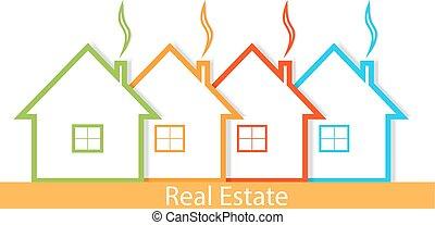vrai, maisons, loyer, estate., hôtel, business., illustration, vente, vecteur, ton, design.