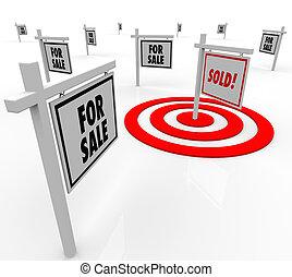 vrai, maisons, propriété, beaucoup, vendu, signe vente, ...