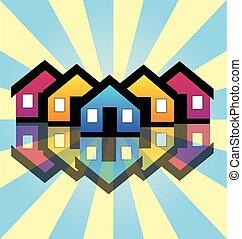 vrai, maisons, propriété, carte, logo