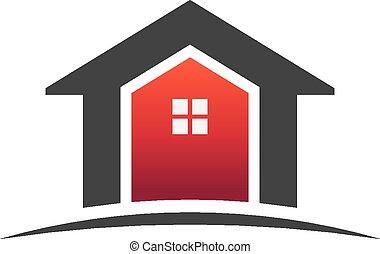 vrai, maisons, propriété, logo