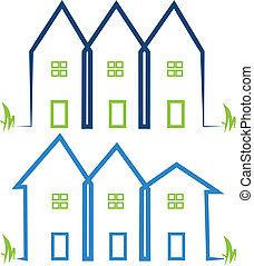 vrai, maisons, propriété, logos
