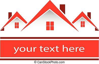 vrai, maisons, propriété, rouges, logo