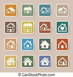 vrai, maisons, set., icônes, estate.