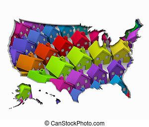 vrai, maisons, uni, propriété, usa, carte, illustration, etats, développement, nouveau, amérique, 3d