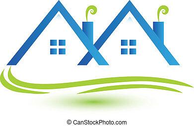 vrai, maisons urbaines, vecteur, propriété, logo
