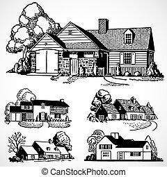 vrai, maisons, vecteur, propriété, vendange