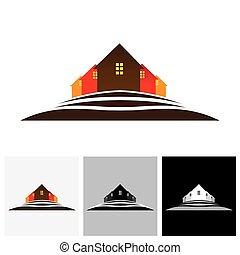 vrai, market., propriété, &, ), maison, résidences, vecteur, colline, (, maison, logo, icône