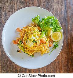 vrai, nourriture, plaqué, eat., prêt, thaï, repas