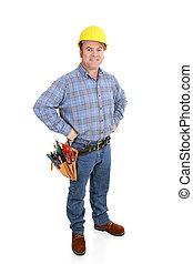 vrai, ouvrier, construction, -, confiant