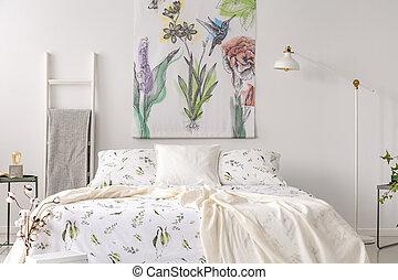 Art, mur, photo., chambre à coucher, plants., oiseaux, style ...