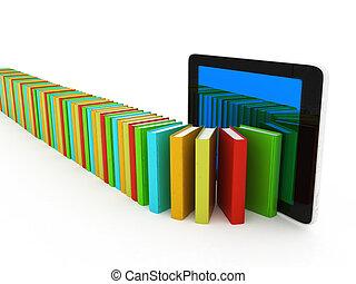 vrai, pc, livres, coloré, tablette