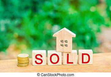 """vrai, pièces, estate., vente, inscription, housing., maison, maison, bois, """"sold""""., propriété, affordable"""
