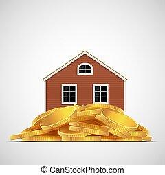 vrai, pièces., stands, or, maison, tas, propriété, valuation.