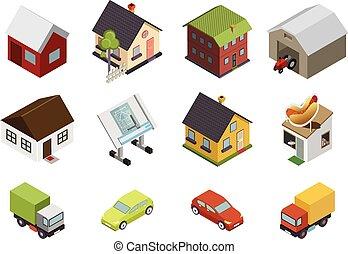vrai, plat, isométrique, ensemble, propriété, icônes, maison, isolé, illustration, symboles, vecteur, retro, voitures
