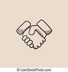 vrai, poignée main, transaction, propriété, réussi, croquis, icon.