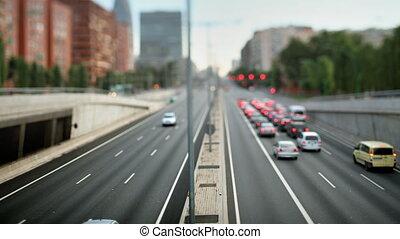 vrai, pont, soir, coup, inclinaison, barcelone, trafic, ...