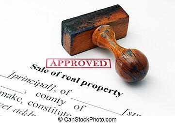 vrai, propriété, concept, vente