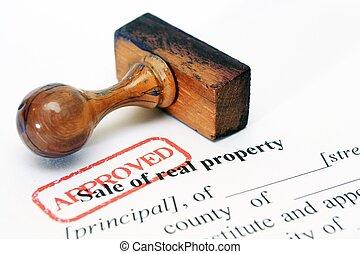 vrai, propriété, vente, formulaire
