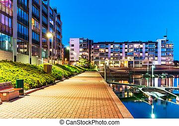 vrai, résidentiel, moderne, district, propriété