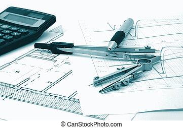 vrai, résidentiel, plans, propriété, architectur