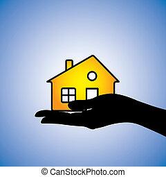 vrai, représenter, concept, propriété, house/home., ceci, résidentiel, illustration, agent, acheteur, from/to, bien, autre, buying/selling, propriétaire, propriété, ou, posséder, boîte