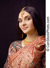 vrai, sari, beauté, doux, indien, arrière-plan noir, fille...