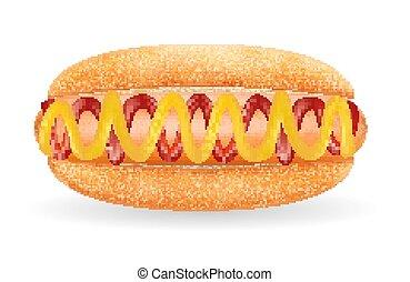 vrai, saucisse, chien, chaud, fond, blanc, sauce, pain