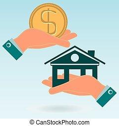 vrai, sien, hands., maison, propriété, pièce dollar, construction., argent., insurance., maison, propriété, investissements, achat