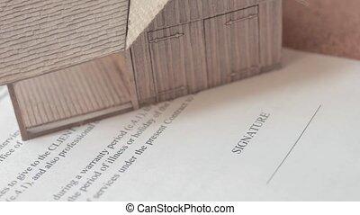 vrai, signer, propriété, formulaire, contrat, noir, ink., homme affaires