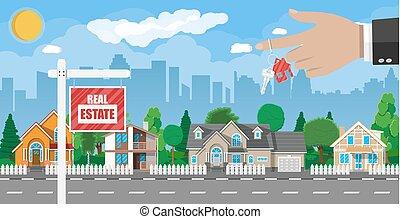 vrai, suburbain, house., privé, propriété