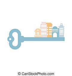 vrai, urbain, bâtiments, city., propriété, isolated., agence, homes., indice, clã©, logo