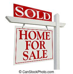 vrai, vendu, propriété, signe