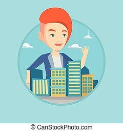 vrai, ville, agent immobilier, présentation, model.