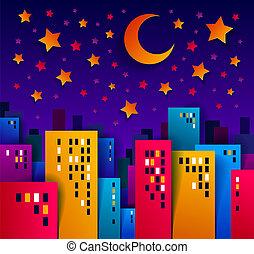 vrai, ville, bâtiments, coupure, gosses, maisons, minuit, illustration, lune, élevé, application, time., papier, vecteur, étoiles, nuit, cityscape, propriété, dessin animé, style