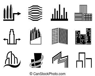 vrai, ville, bâtiments, symbole, propriété