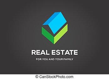 vrai, ville, propriété, élite, agence, class., gabarit, petite maison, logo, logo., ou