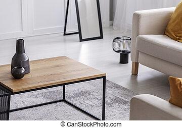 vrai, vivant, café, simple, photo, salle, céramique, élégant, vases, table bois