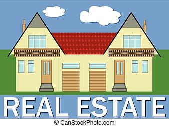 vrai, vivant, familles, propriété, famille, illustration, maison, fonctionnel, deux, stylisé, garages, bannière