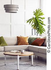 vrai, vivant, feuille, salle, coloré, simple, grand, lampe, vert, intérieur, au-dessus, sofa, coin, blanc, photo