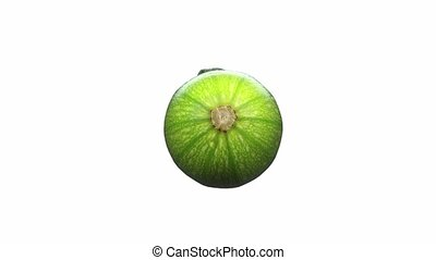 vrai, zucchini., faire boucle, render, objet, tourner, réaliste, balayé, vidéo, fond, alpha, blanc, courgette, seamlessly, canal, 3d