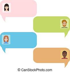 vrais gens, chatbot, bubbles., bavarder, message