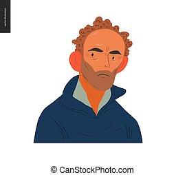vrais gens, portraits, -, cheveux brun, homme