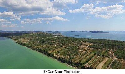 vransko, see, und, landschaftsbild, luftblick, kroatien