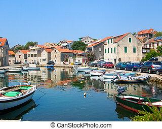 vrboska a small harbor on the island of Hvar , Croatia