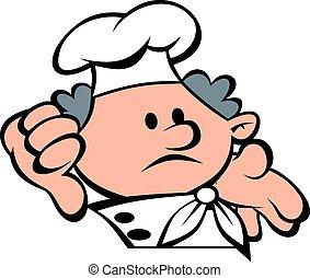 vrchní kuchař, čelit, a, ruce