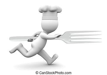 vrchní kuchař, běh, s, vidlice